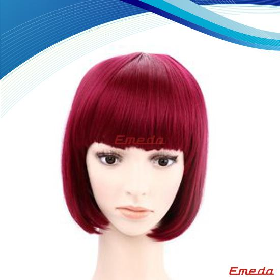red synthetic party wig