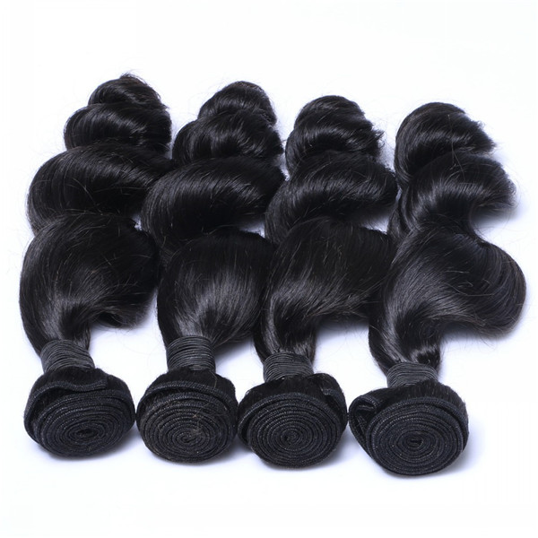 Loose wave natural color hair weave with top quality  YL082