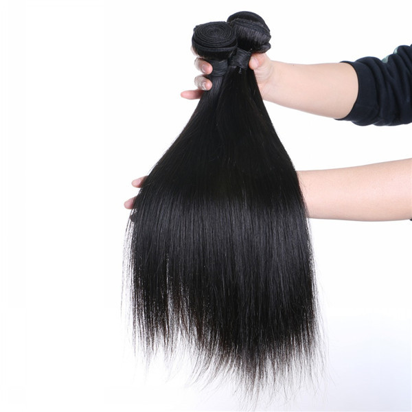 Double Drawn Full End Hair Weave Virgin Human Hair Brazilian Hair Bundles With Closure LM396