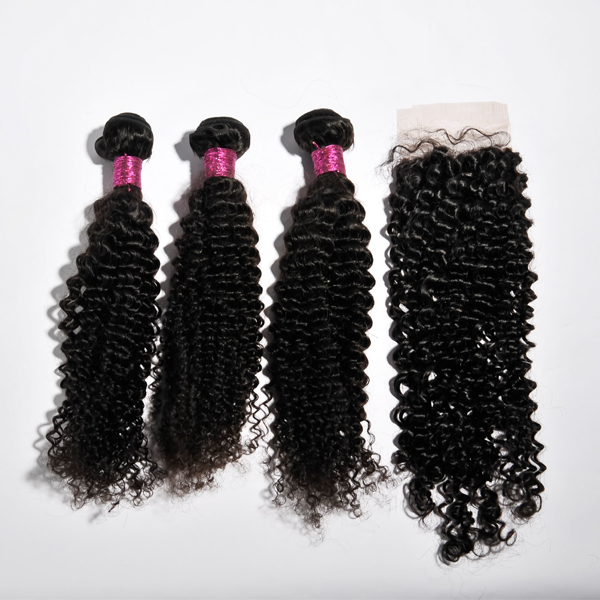 Virgin brazilian  kinky curl lace closure, instock Free part,middle part and three part YL097
