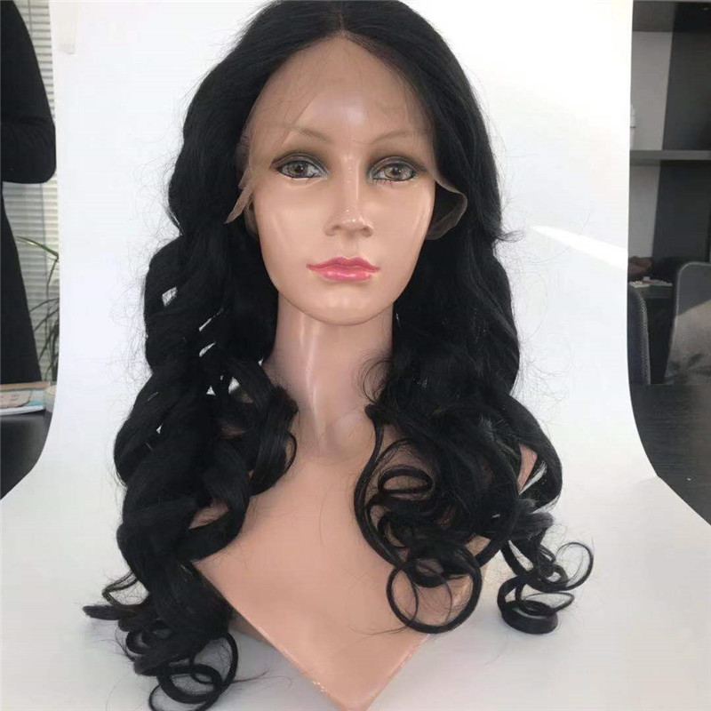 Egg Curl Left Part Front Lace Wig #1 Black Color with Long Length WK079