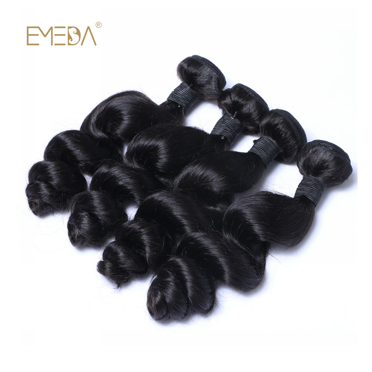 Black Hair Weave Brazilian Virgin Cuticle Aligned Hair Bundles Natural Weave  LM444
