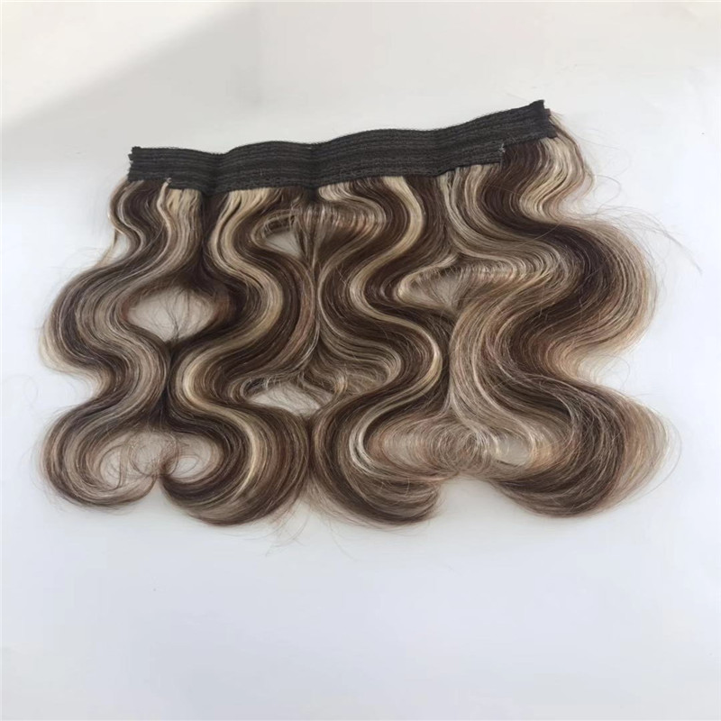 Piano Color Halo Hair Extension with Wire of Body Wave Texture WK065