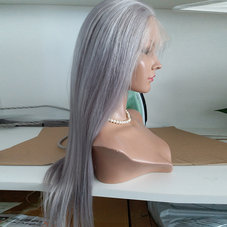 Silver Hair Full Lace Wig can be Braid 100% Human Hair WK007