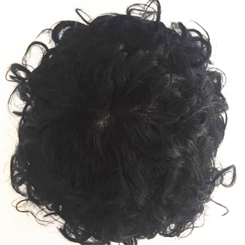 Thin skin toupee for men curly hair human hair high quality YL290