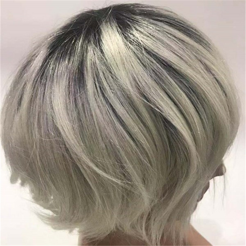 Ombre Color with White Hair Man Toupee Very Light Color WK071
