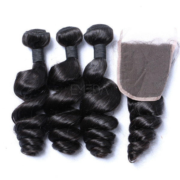 Indian loose wave hair extensions cost cheap with closure YJ220