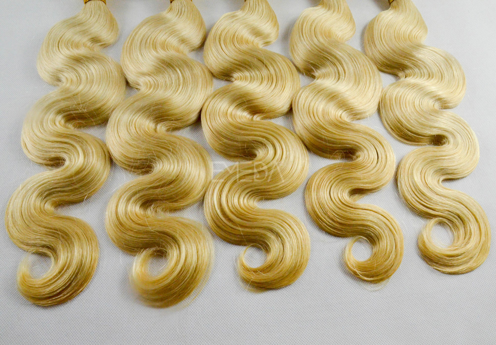 Sew in human hair extensions blonde body wave hair weft CX0024