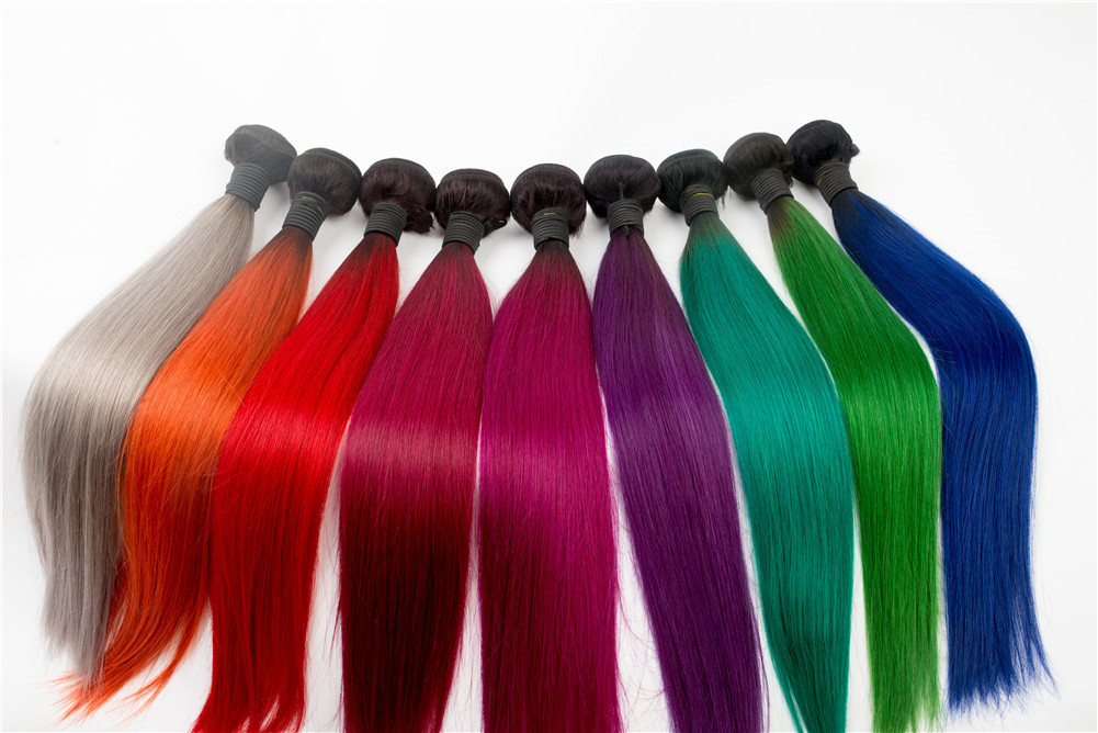 Colorful Hair Weft High Grade Grey Yellow Red Blue Green Orange WK021