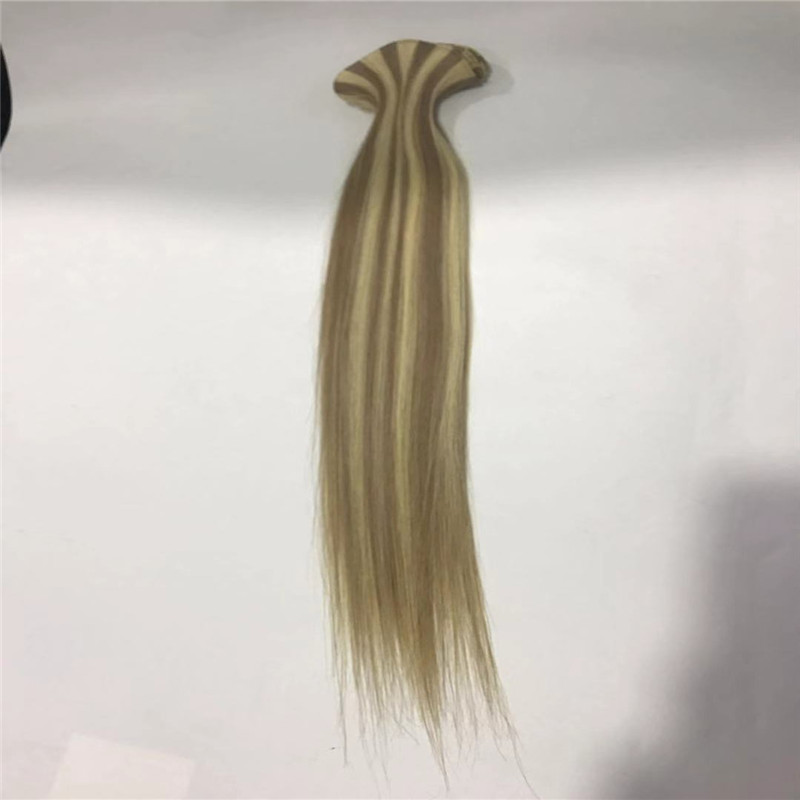 Piano Color Brown and Blonde Hand Tied Weft with Natural End WK085